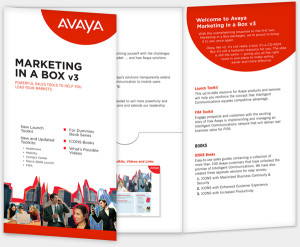 Avaya Marketing In A Box, interactive sales support kit.
