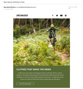 The email promotion I received from Specialized.
